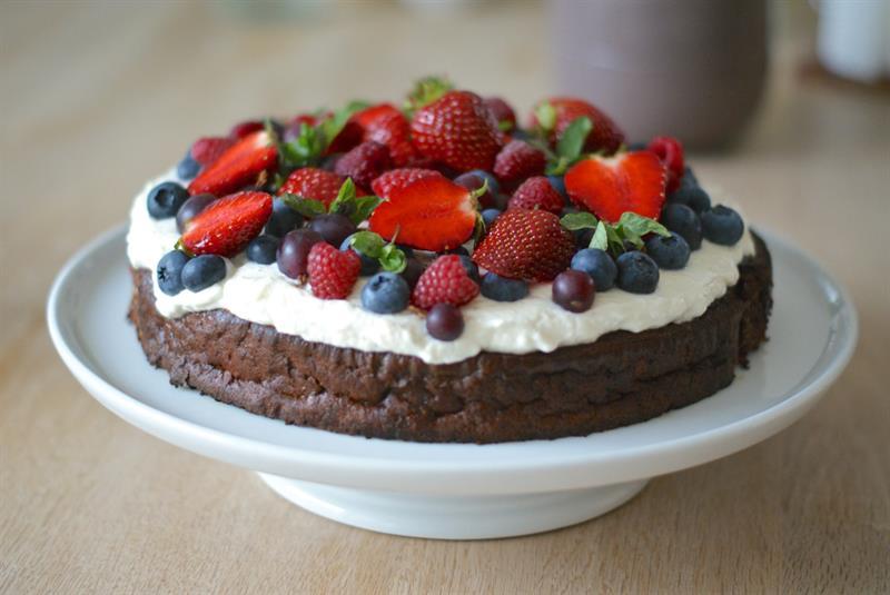 chokoladekage med ostecreme